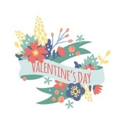 Vintage valentine day decoration flowers vector