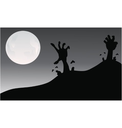 Silhouette of hand zombie halloween vector