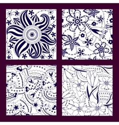Set of floral seamless patterns vector