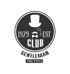 Retro gentleman club label design vector