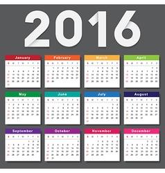 Calendar 2016 Week starts from Sunday vector image vector image