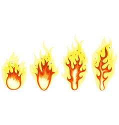 cartoon fire and burning flames set vector image