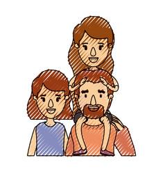 color crayon stripe caricature half body big vector image