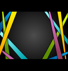 Colorful stripes on black abstract background vector
