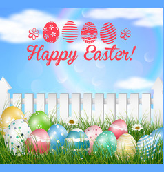 Easter eggs on a grass field vector