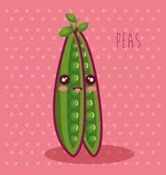fresh peas vegetable character vector image vector image