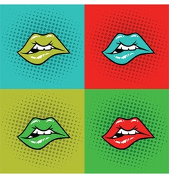Hot Lips Pop Art vector image vector image