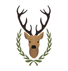 Hunting trophy deer head in laurel wreath no vector