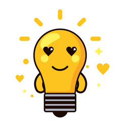 Light bulb kawaii cartoon happy cute heart icon vector