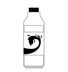 milk bottle in black dotted silhouette vector image
