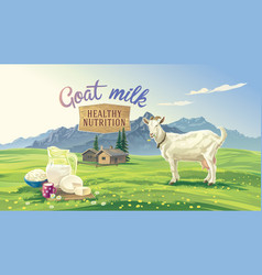Mountan landscape and goat vector