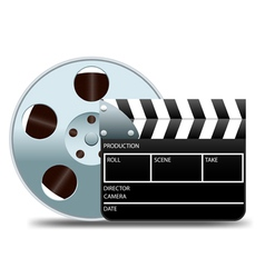 movie clapper board and film reel vector image vector image