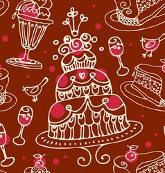 seamless sweets pattern vector image vector image