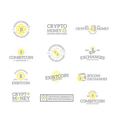 Set of retro vintage bitcoin and cryptocurrency vector