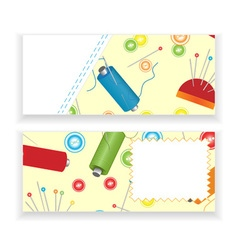 Sewing materials banners vector image vector image