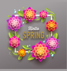 spring greeting card with flowers vector image