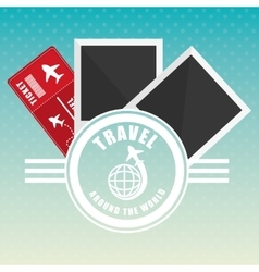 Travel around world ticket airline badge vector
