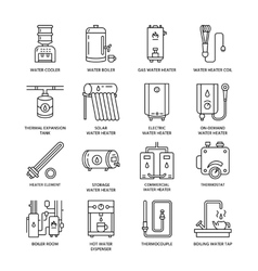 Water heater boiler thermostat electric gas vector