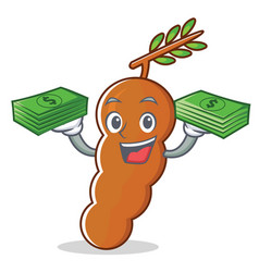 With money tamarind mascot cartoon style vector