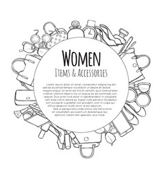 women items and accessories hand drawn objects vector image
