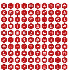 100 helmet icons hexagon red vector