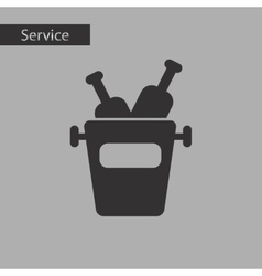 Black and white style bottle bucket vector