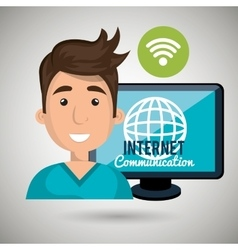 Man internet connected global vector