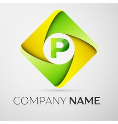 Letter p logo symbol in the colorful rhombus vector