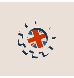3d cog wheel with britain flag vector