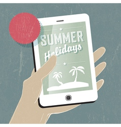 Summer travel concept with phone vector