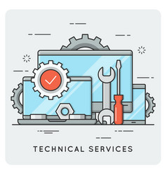 Technical services thin line concept vector