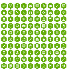 100 lab icons hexagon green vector