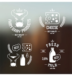 Farm dairy products emblems and icons vector