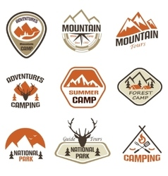 Mountain and travel retro emblems and labels set vector
