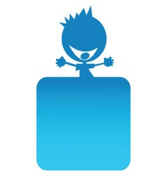 illustration of a blue boy on top of a banner vector image