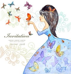 Cute girl with butterflies watercolor painting vector