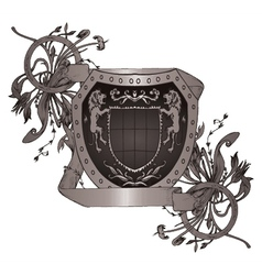 shield with scroll vector image