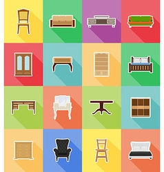Furniture flat icons 18 vector