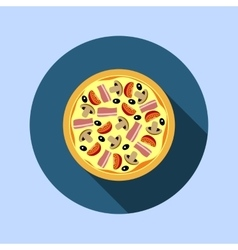Assorted pizza with mushrooms tomatoes vector