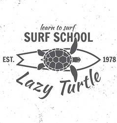 Surf school concept summer surfing retro badge vector