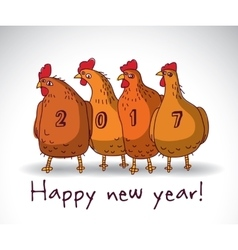 New year greeting chicken card with sign vector
