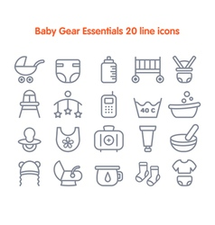 Baby line icons vector
