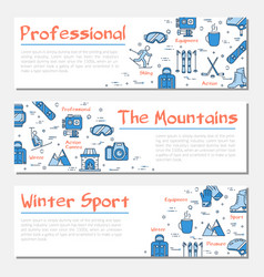 blue three winter sport banners vector image