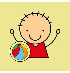 cartoon boy happy colors ball vector image