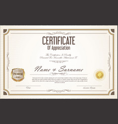 Certificate or diploma retro template 02 vector