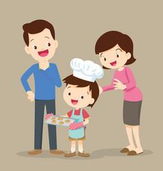 children cooking cookies vector image vector image