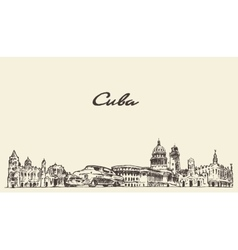 Cuba skyline hand drawn sketch vector image