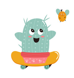 Cute cactus and bumblebee vector