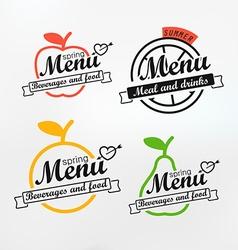 Different menu labels design set lineart concept vector