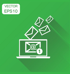 Email envelope message on laptop icon business vector